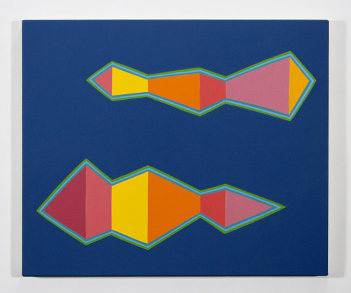 A painting of two abstract geometric volumes