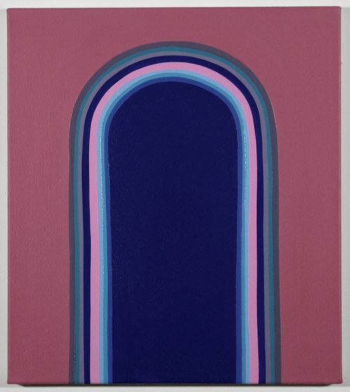 A painting of an oblong shape on a pink background