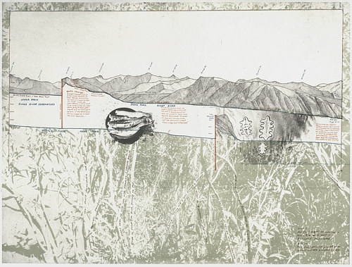 A print work depicting an area of the sierra Nevada