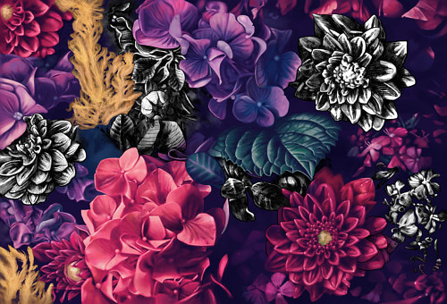 A floral wall mural designed with colored and black and white elements