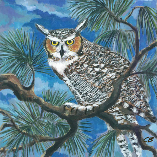 An art print of a painting of an owl