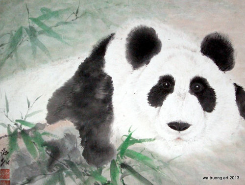 A watercolor painting of a lazy panda