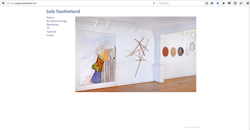 A screen capture of Judy Southerland's art website