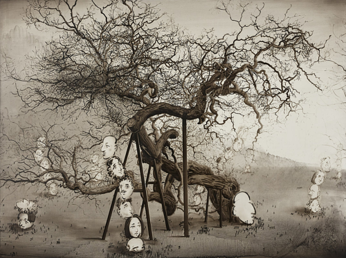An oil painting of a greyscale tree with human faces