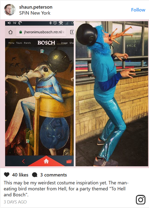 An Instagram photo of a costume based on Heuronymous Bosch's work
