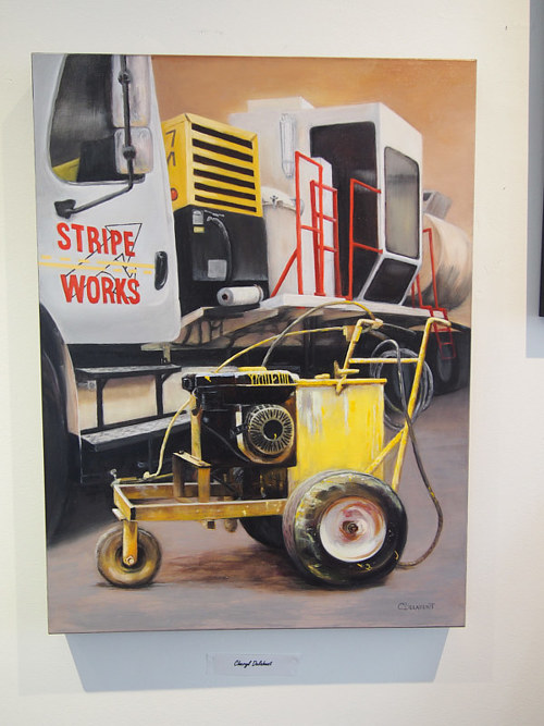 A painting of some industrial equipment