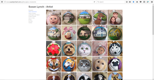 A collection of hand-painted ornaments on Susan Lynch's art website