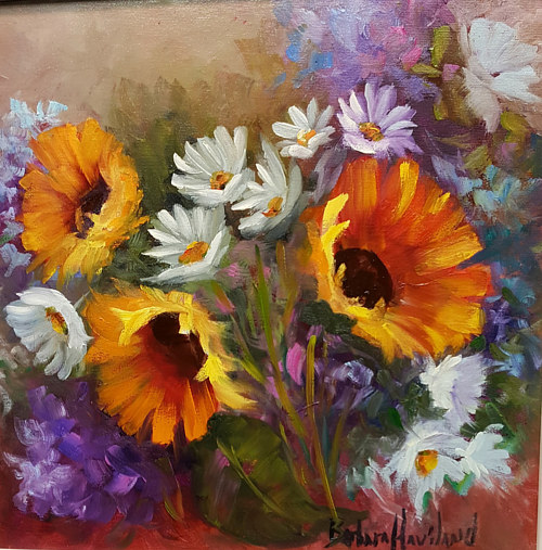 An oil painting of daisies, sunflowers, and hydrangeas