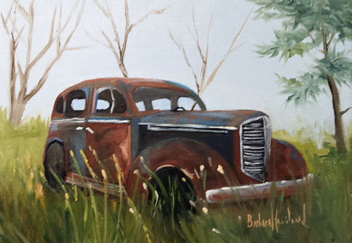 A painting of a rusted sedan in a field