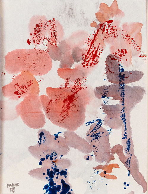 An ink and wax painting of abstracted flowers