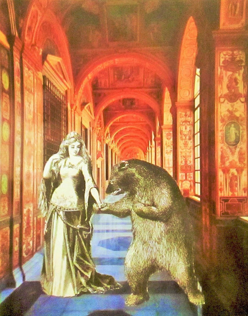 A collage with a woman fighting a bear in a hallway
