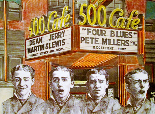 A collage with four figures standing in front of a theatre