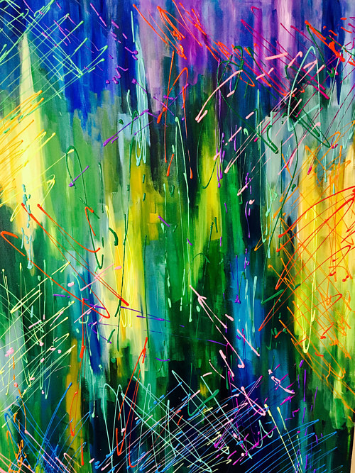 An abstract painting with bright colors and splashes of paint