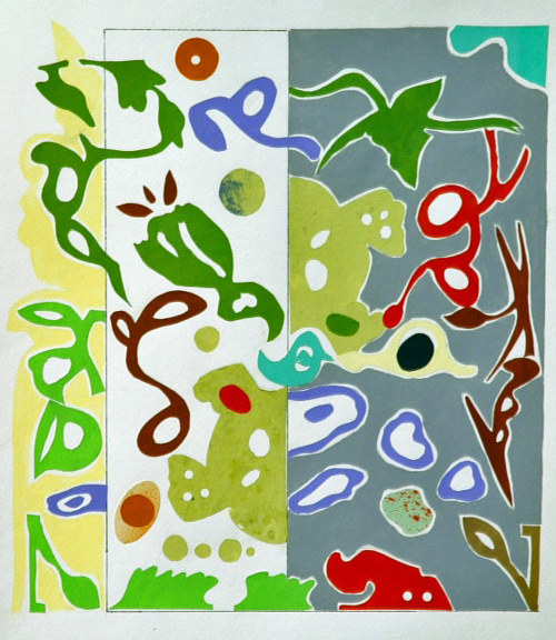An artwork with plant-like figures on a green background