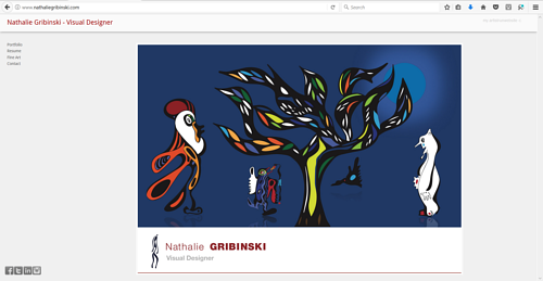 A screen capture of the front page of Nathalie Gribinski's design website