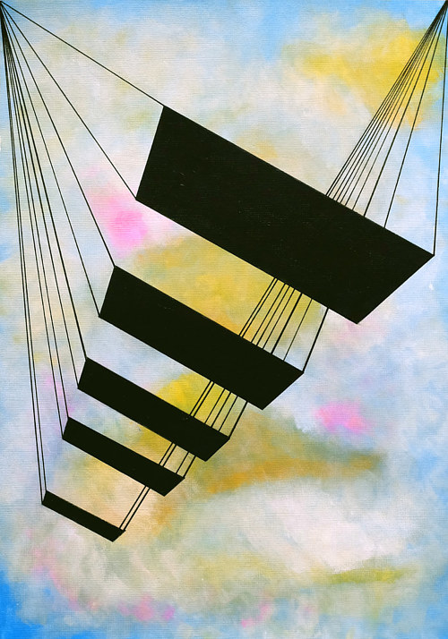 An artwork depicting a series of geometric shapes on a pastel background