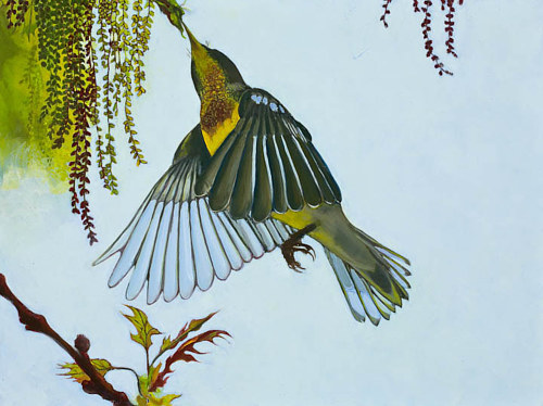 A painting of a green bird at some flowers