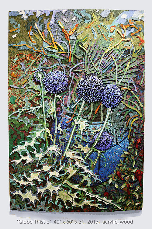 A mixed media painting of a thistle