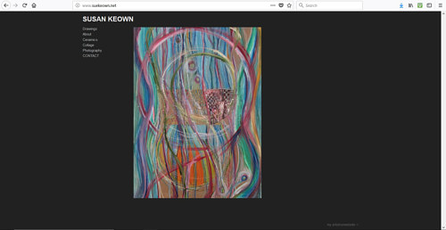 The front page of Susan Keown's art website