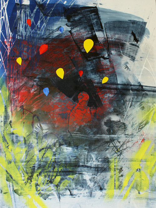 An abstract painting with bright focal point shapes