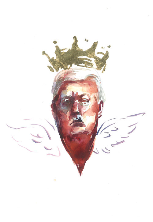A painting of Donald Trump with a mocking crown and wings