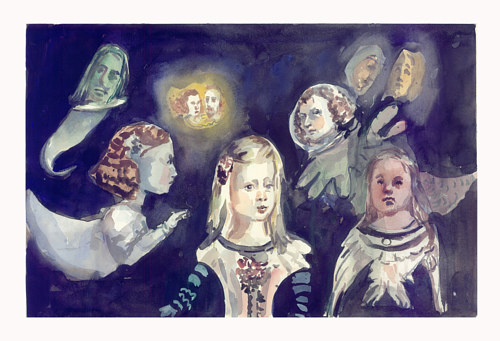 A painting of several classical figures suspended in darkness