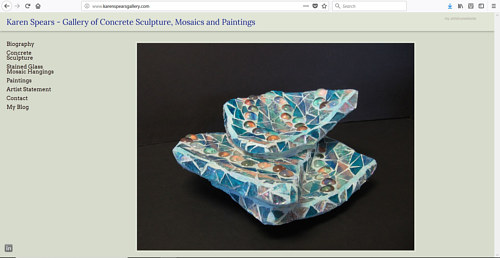 The front page of Karen Spears' art website