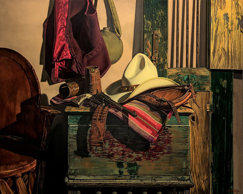 An oil painting of a back room with antique western items