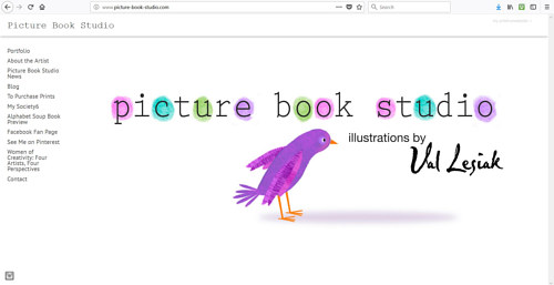 A screen capture of Valerie Lesiak's art website