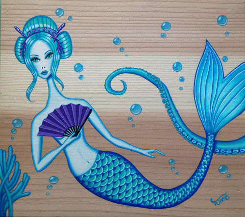 A stylized painting of a mermaid