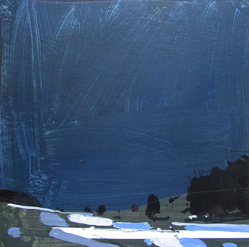 An abstracted painting of a wintry landscape at night