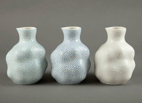 A set of three large sake jugs