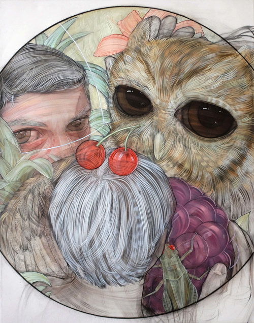 A painting of a human figure and an owl
