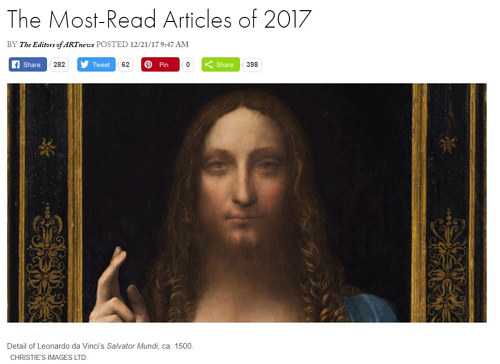 A screen capture of Art News' year-end round up