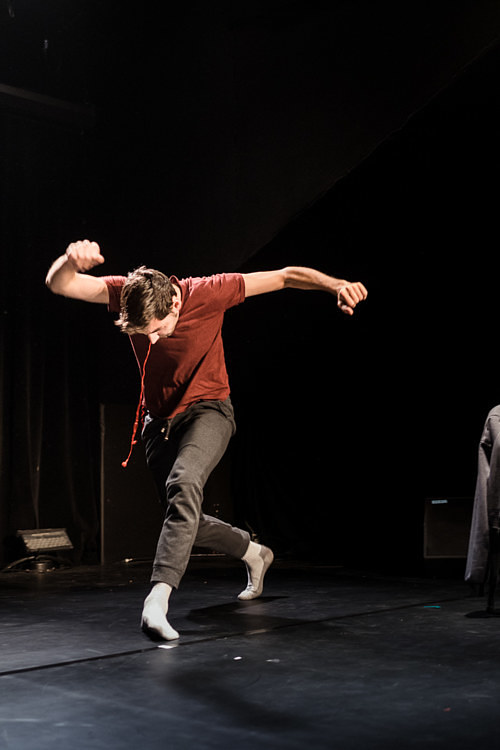 A photo of Brice Noeser during a dance performance
