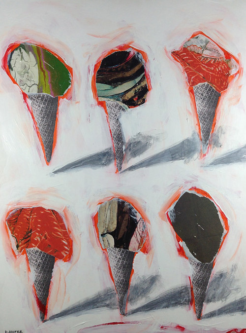 A mixed media artwork depicting six ice cream cones