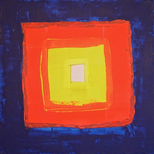 A painting of concentric squares in different hues