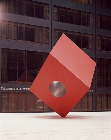 A photo of Isamu Noguchi's Red Cube