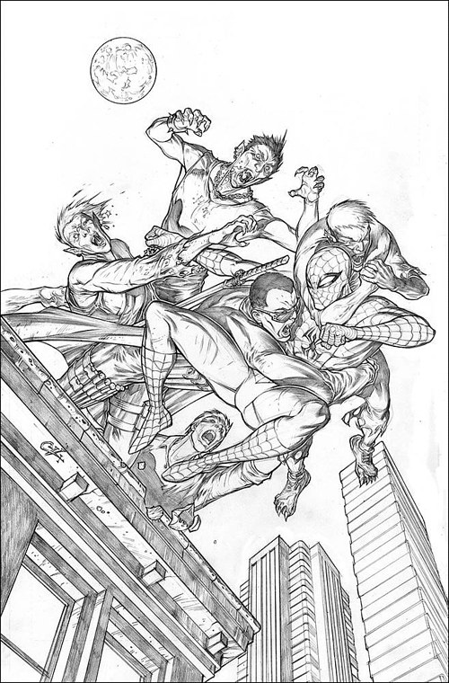 A black and white cover drawing for a Spiderman comic
