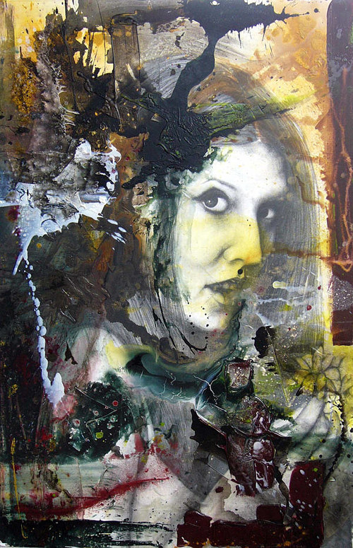 An artwork combining a portrait with abstracted painting