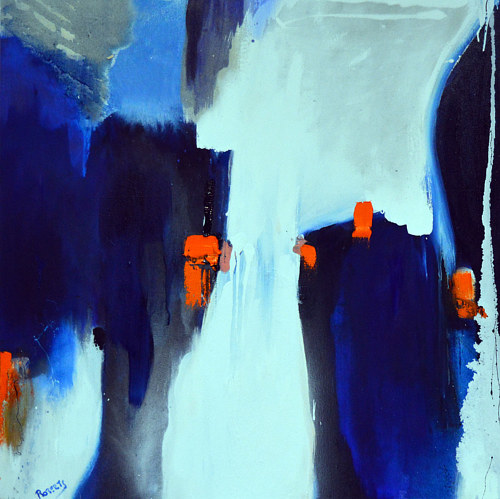 A painting using deep blue tones and accents