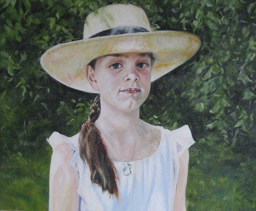 Painting of little girl with hat