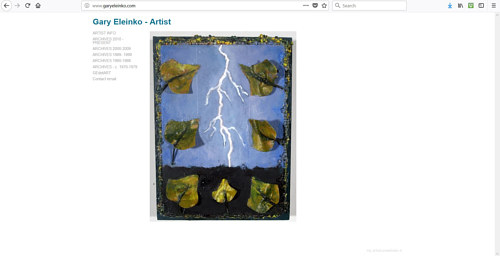 A screen capture of the front page of Gary Eleinko's art website