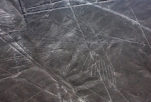 An aerial photo of a geoglyph, part of the Nazca Lines