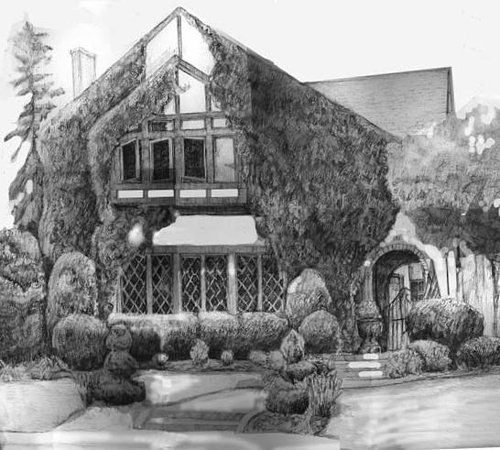 Drawing of house with vines