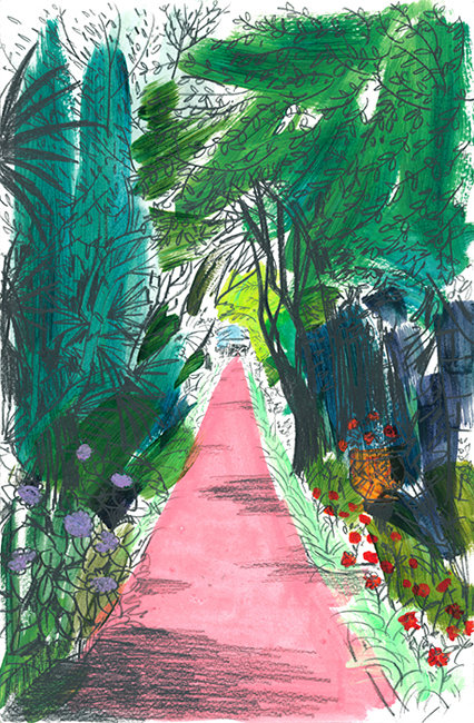 Print of pink path with trees and flowers