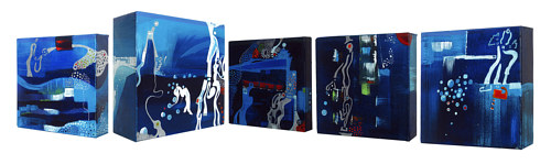 A series of paintings on small canvas blocks