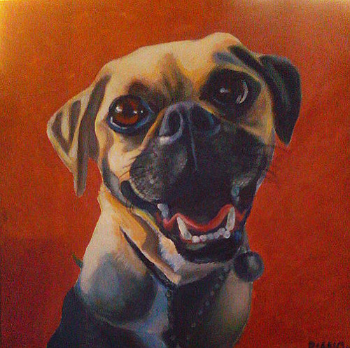 A painting of a happy-looking dog