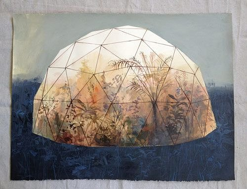 painting of see through dome with plants