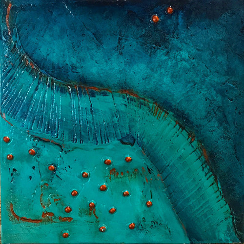 An abstract painting combining copper and aqua colors